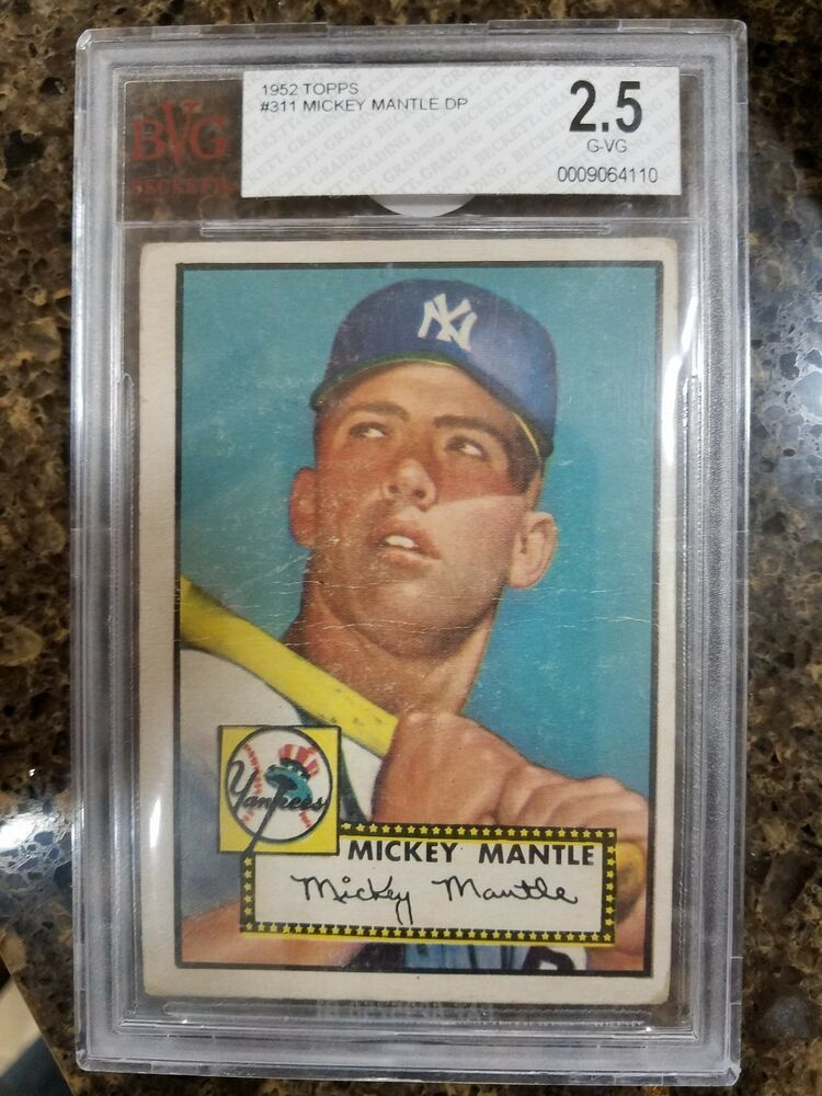 1952 topps mickey mantle rookie 311 bvg 25 mickey