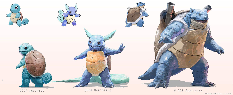 Pokemon: Squirtle, Wartortle, and Blastoise by LindseyWArt on @DeviantArt