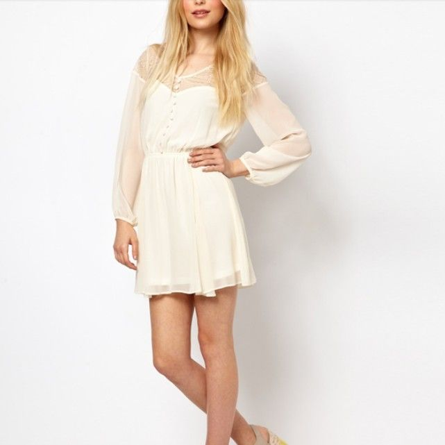 Delicate V Neck Pure Color Lace Long Sleeve Dress - with skinny jeans