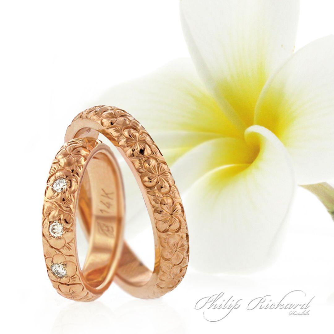 Plumeria flower wedding band in pink gold available with diamonds