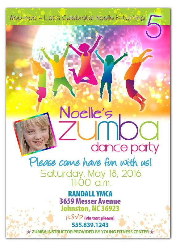 Zumba birthday party invitation for kids httpsetsy bday party ideas stopboris Image collections