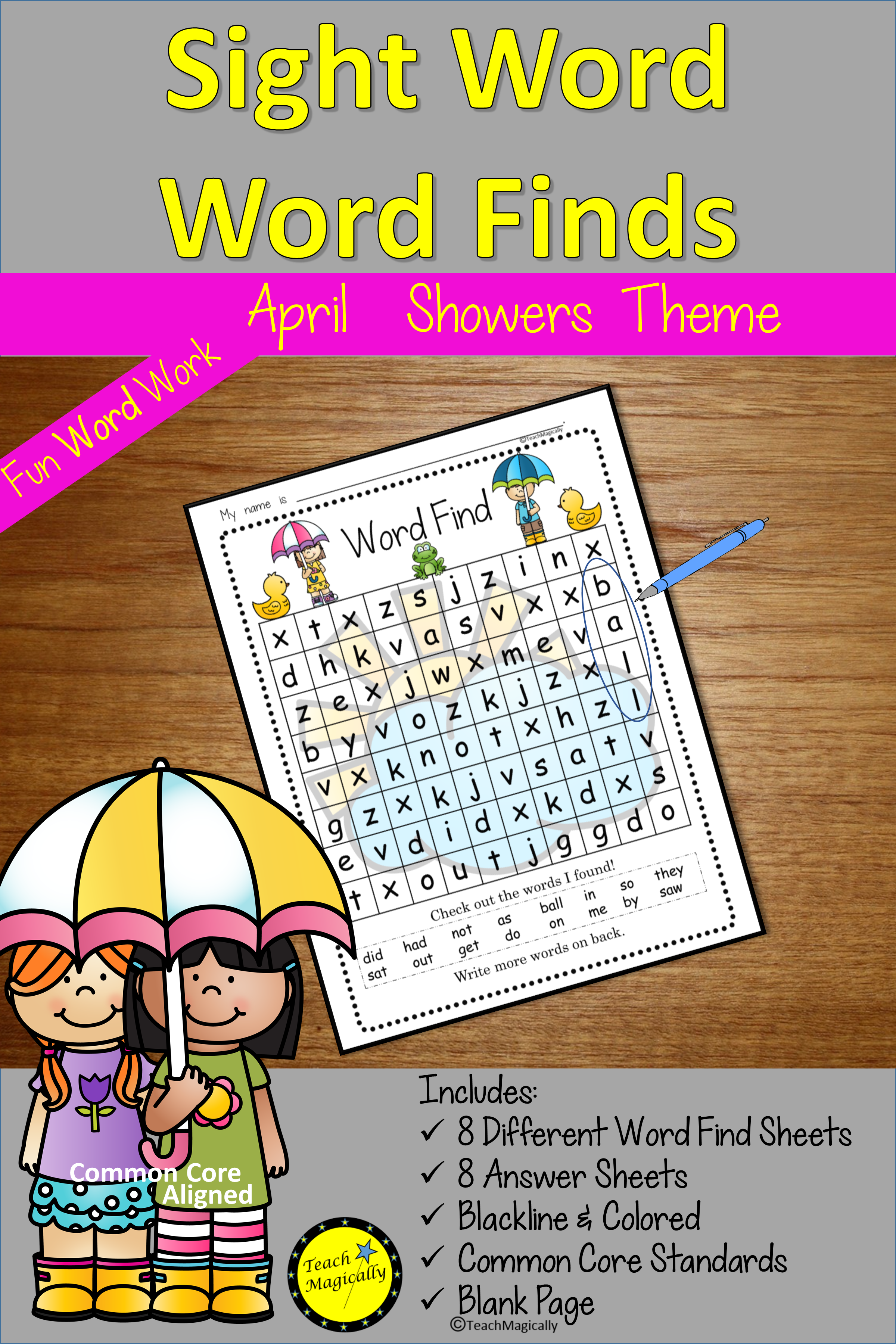 Sight Words Word Find April Showers Spring Theme