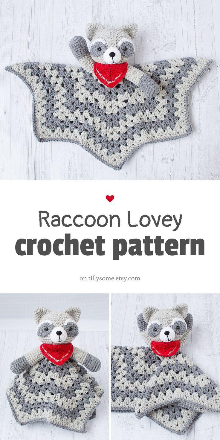 Raccoon Lovey Pattern | Security Blanket | Crochet Lovey | Baby Lovey Toy | Blanket Toy | Lovey Blan