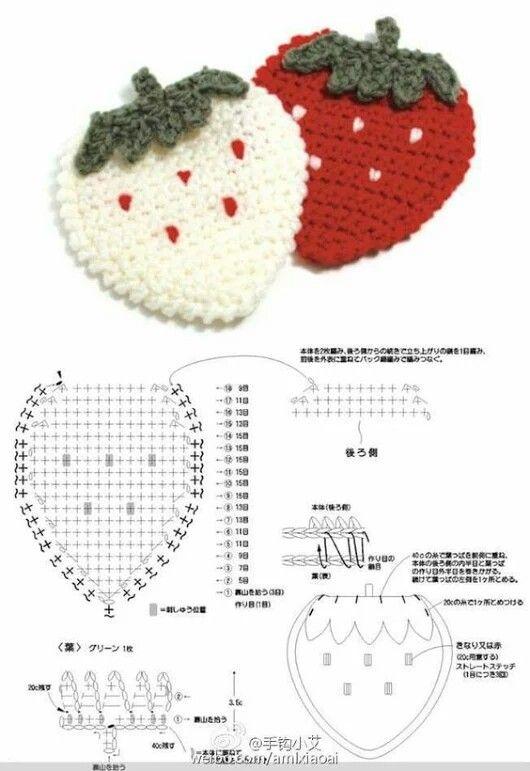 Pin de May Chen en Crochet | Pinterest | Puntos crochet, Fruta y Tejido