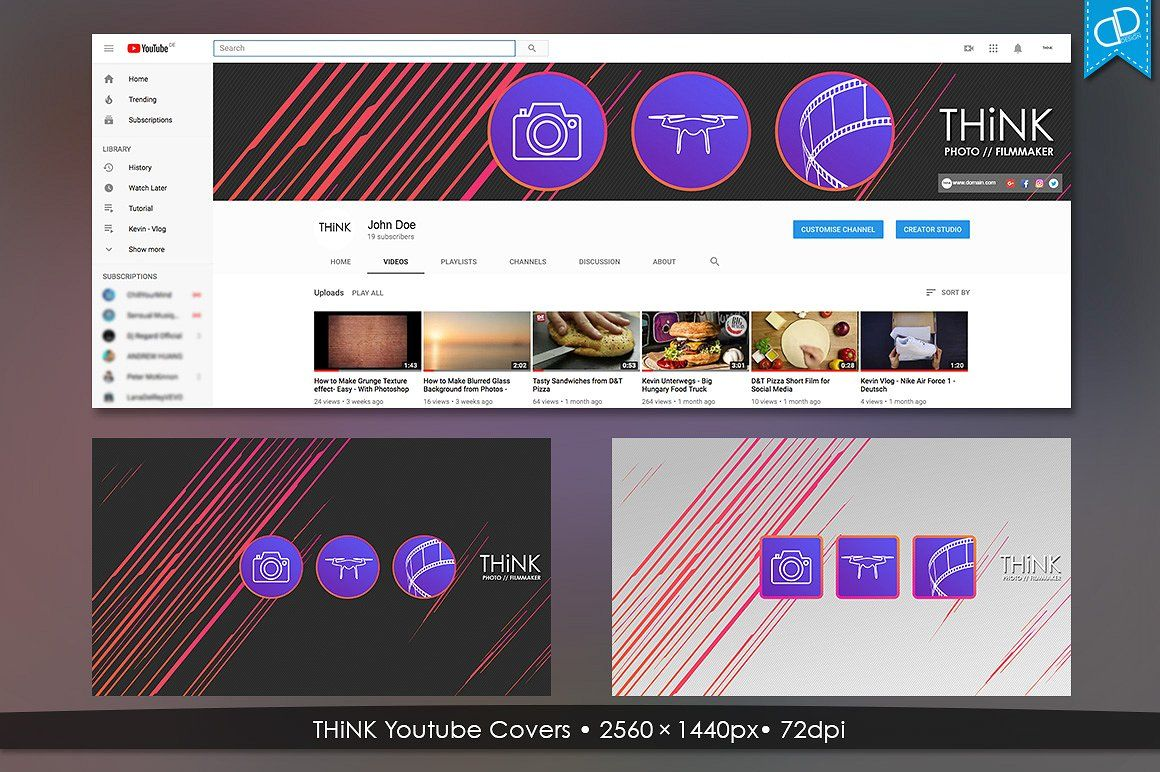 THiNK Youtube Covers Youtube channel art, Photo template