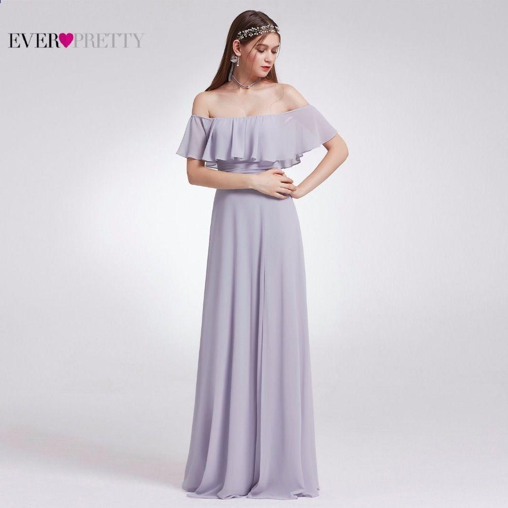 Immer hübsche Frauen, die lange Brautjunfer-Kleid-Chiffon- reizvolle ...