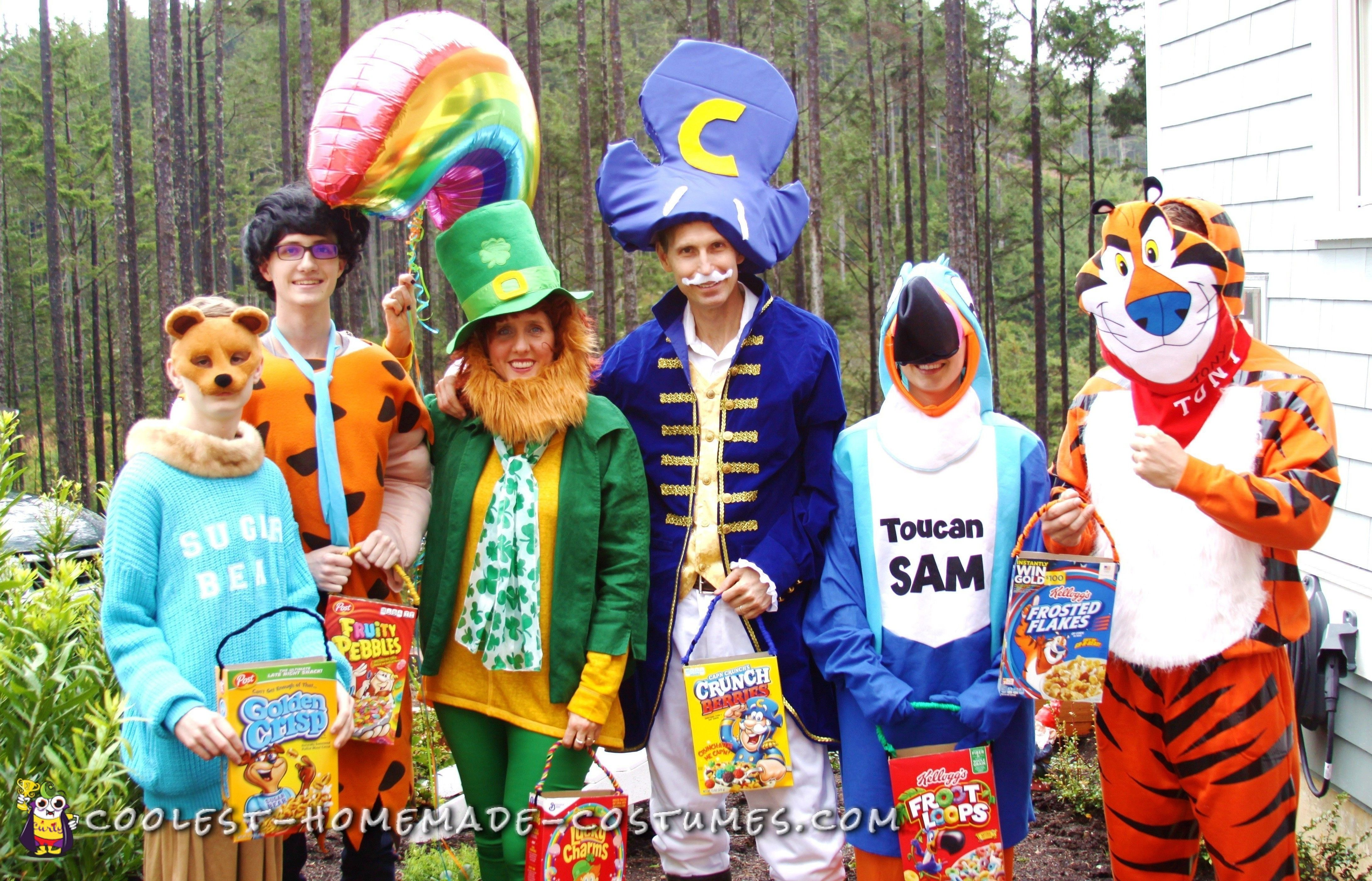 Awesome homemade cereal mascot group costumes food