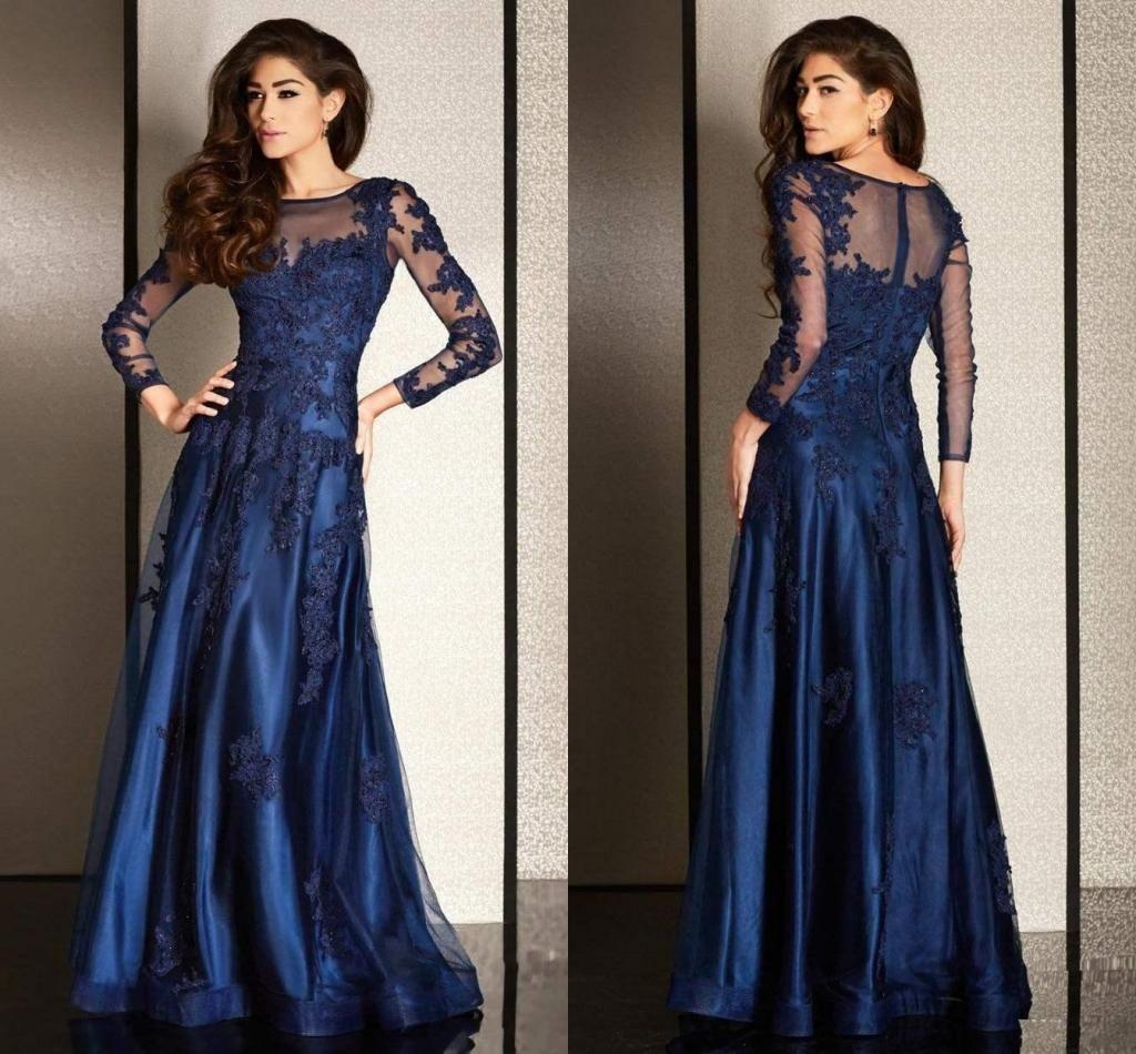 Navy Blue Long Sleeves Arabic Prom Dresses 2016 Line