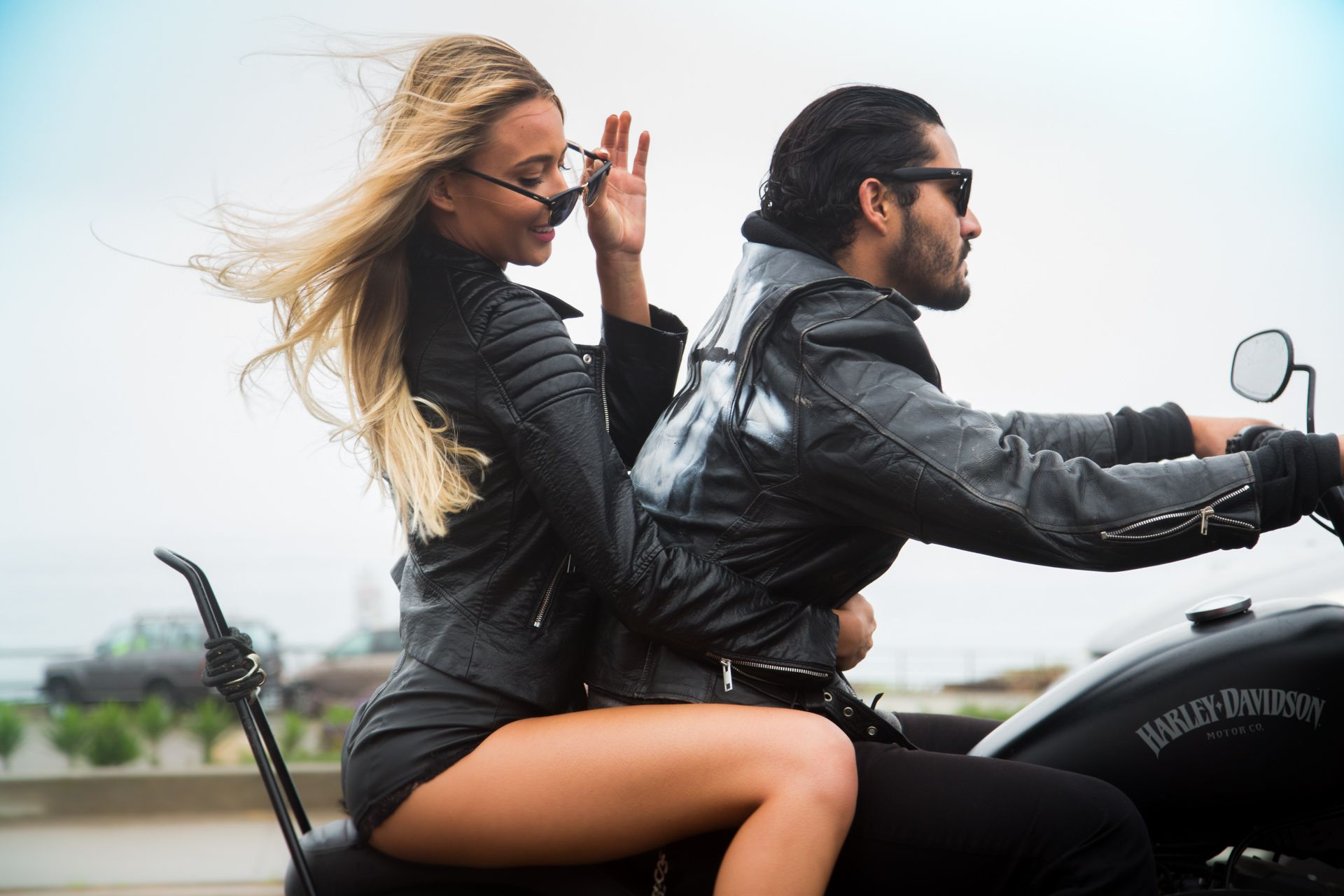 46ccc005947d7d Couple riding a motorcycle with leather jackets