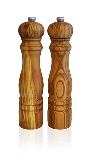 Salt And Pepper Grinders In Olive Wood Naturally Med