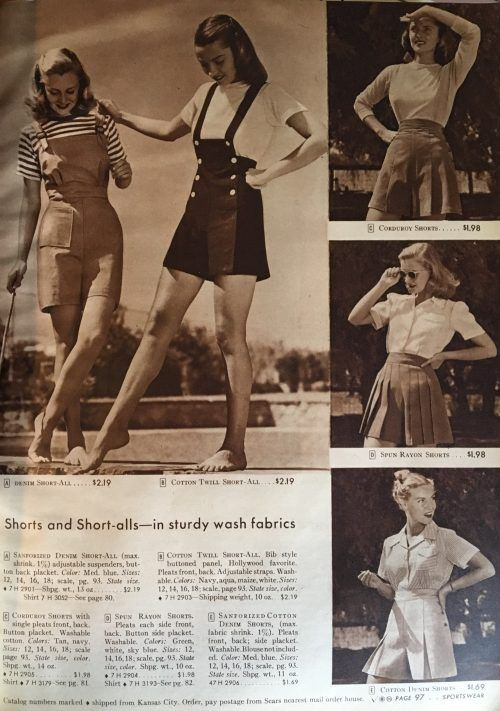 cfb30b261a1 1940s shorts for women- Sears 1944 Shorts and short-alls