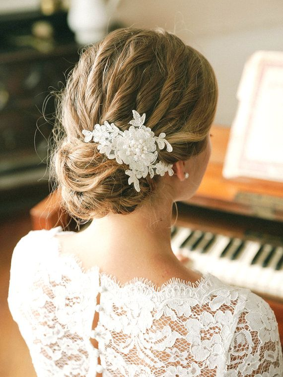 Pearl wedding hair pin ivory lace wedding hair pin by louloudimeli #spitzeapplique