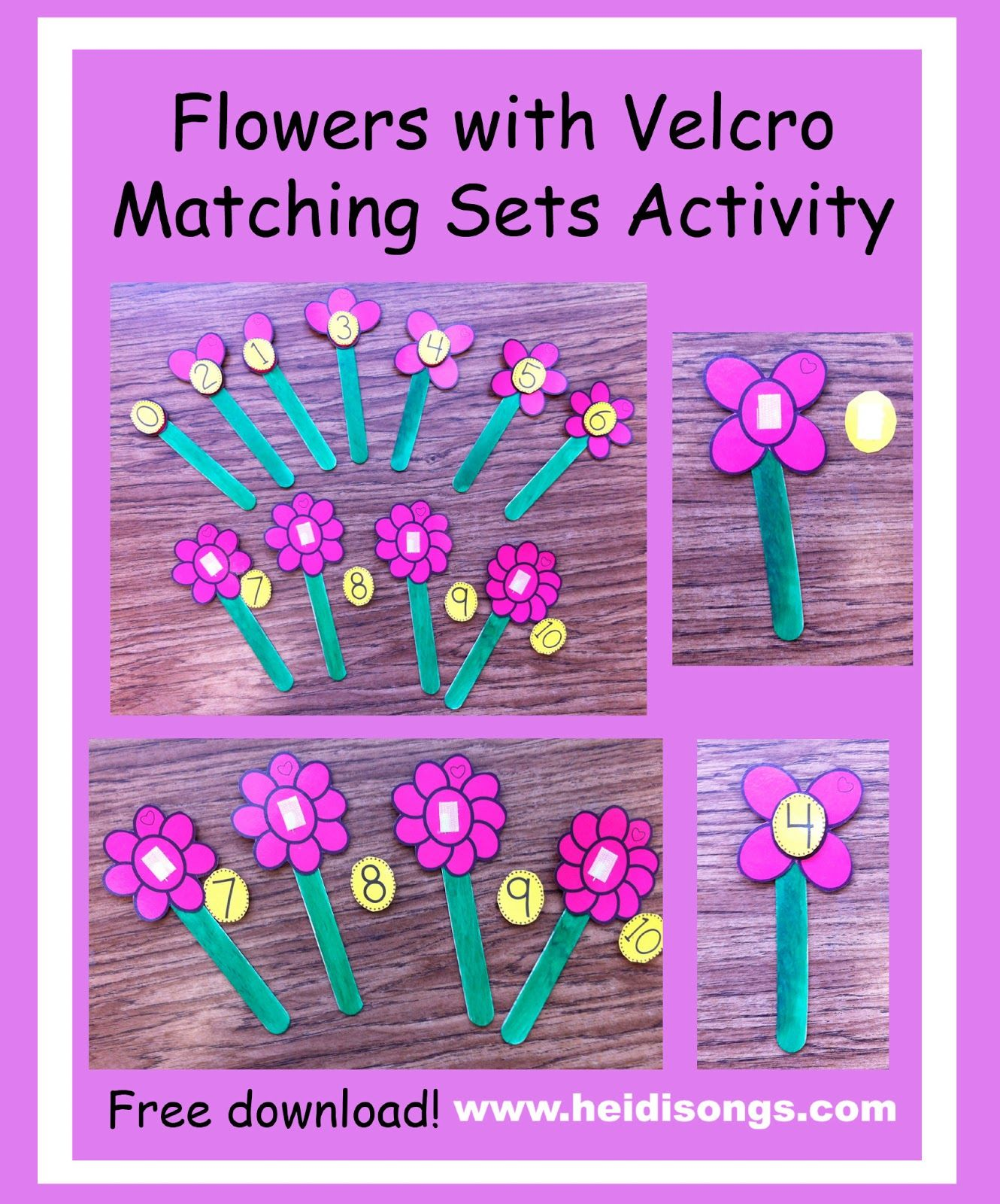 Flowers With Velcro Matching Sets Activity