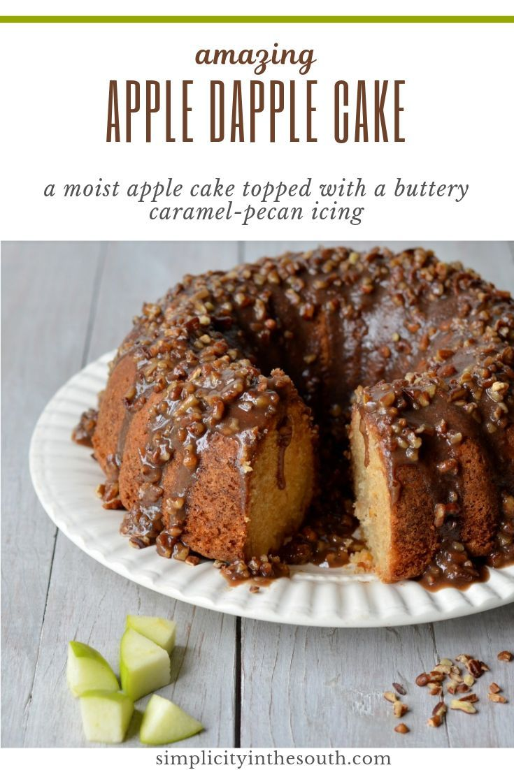 Amazing Apple Dapple Cake with a Caramel-Pecan Glaze A moist apple cake topped with a buttery caramel-pecan icing. This Apple Dapple Cake is equally delicious served as coffee cake in the morning or as dessert served a-la-mode!