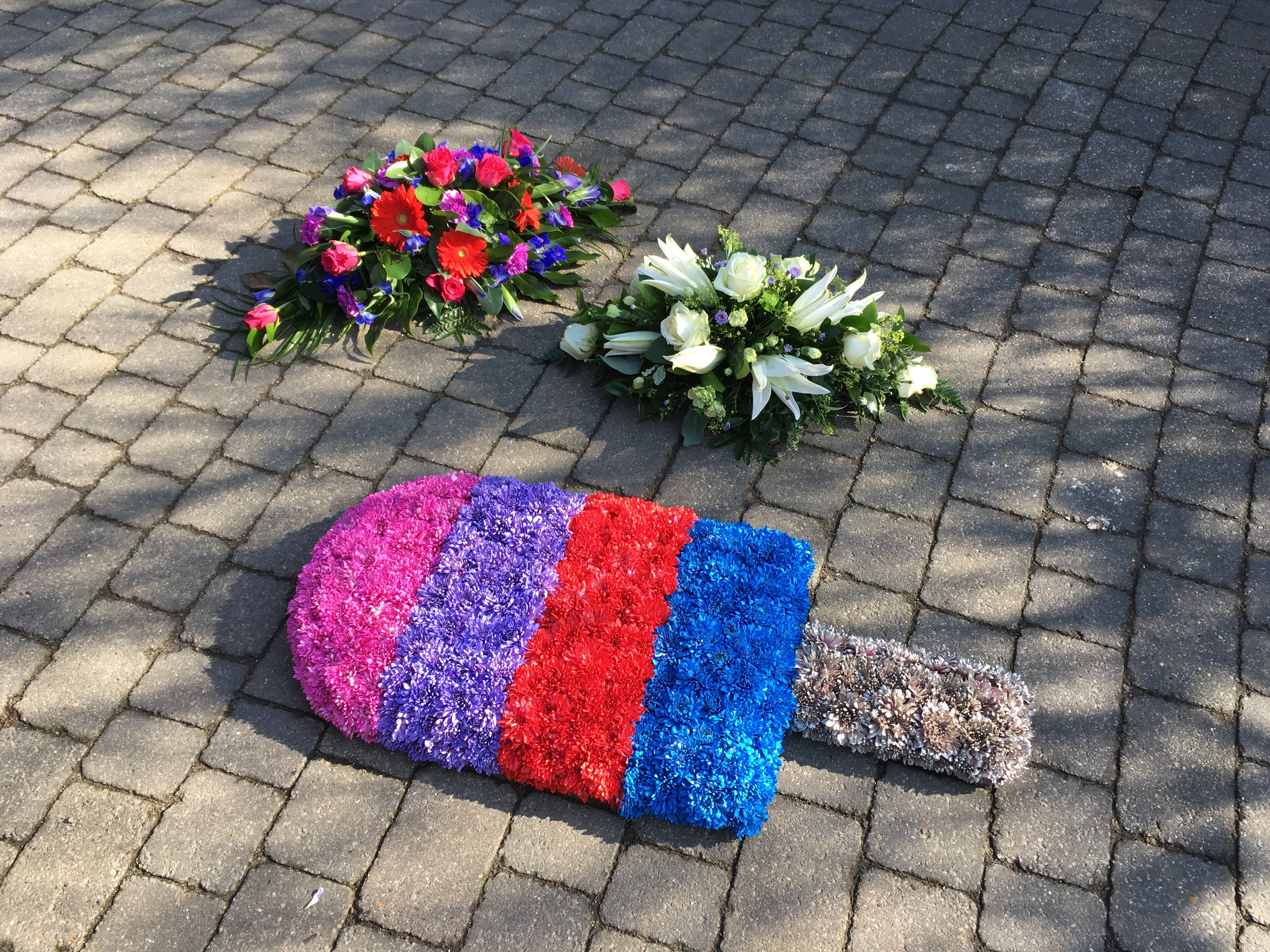 Personalised Special Funeral Tribute Pink Purple Red Blue Ice