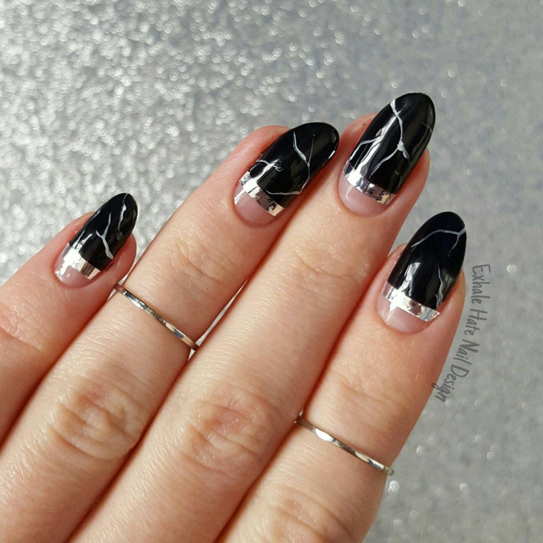 Black Faux Marble Stone Gel Polish Fake Press on nails - use stripe ...