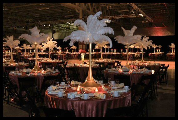 Rent ostrich feather centerpieces spandex vases and lamp
