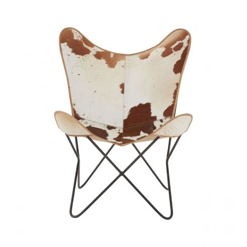 Brown U0026 White Real Buffalo Hide Butterfly Chair