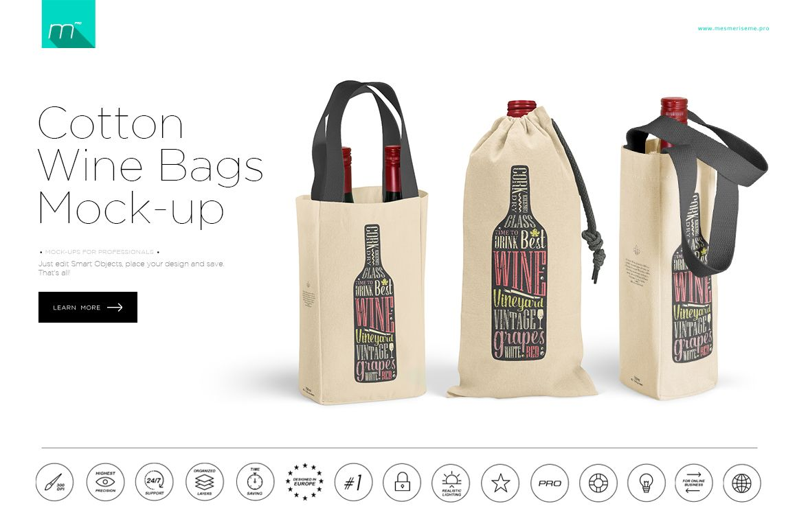 Download Cotton Wine Bag 3 Types Mock Up By Mesmeriseme Pics On Creativemarket Wine Bag Branding Mockups Mockup