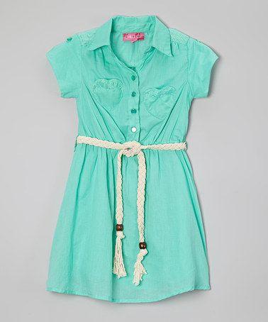Another great find on #zulily! Jade Ice Button Tie-Waist Dress - Toddler & Girls #zulilyfinds