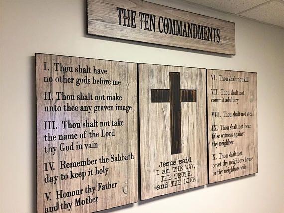 Ten Commandments Wall Art, Wood Wall Art, Church Decor, Business ...