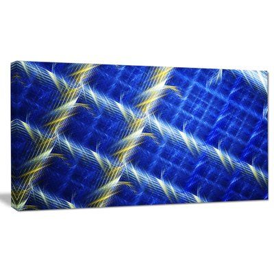 "DesignArt 'Blue Abstract Metal Grill' Graphic Art on Canvas Size: 16"" H x 32"" W x 1"" D"