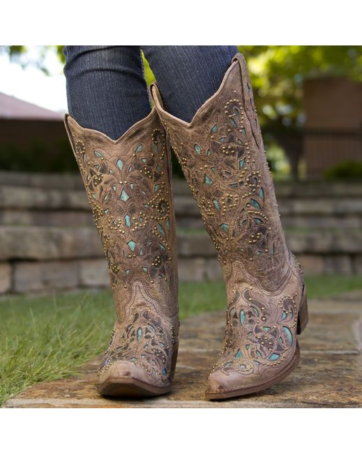 Corral Women's Brown Crater Turquoise Inlay & Studs Cowgirl Boots ...