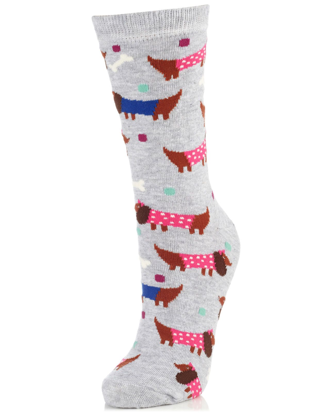 All Over Sausage Dog Sock   Grey   Accessorize