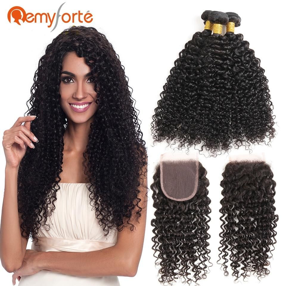 Remy Forte Peruvian Curly Hair With 4 x 4 Closure Natural