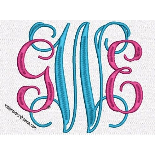 monogram trezz maco machine embroidery designs 4 size 3in-4in and 4in-5in 26 letters