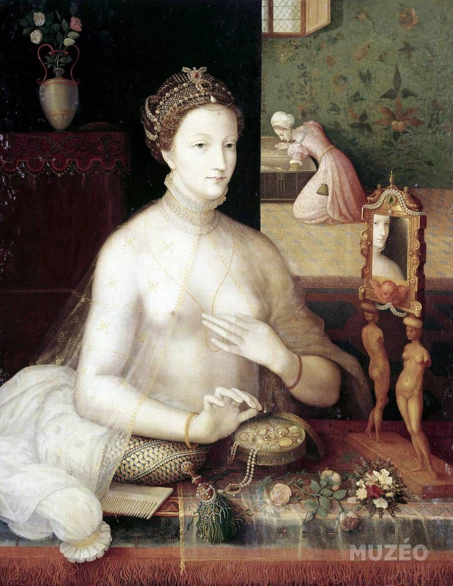 1550 Coiffure A La Passefilon 1548 Coiffure Entrelacee De Cordons De Riches Perles Pierrerie Joyaux Avec Croissan Ecole De Fontainebleau Artwork Portrait