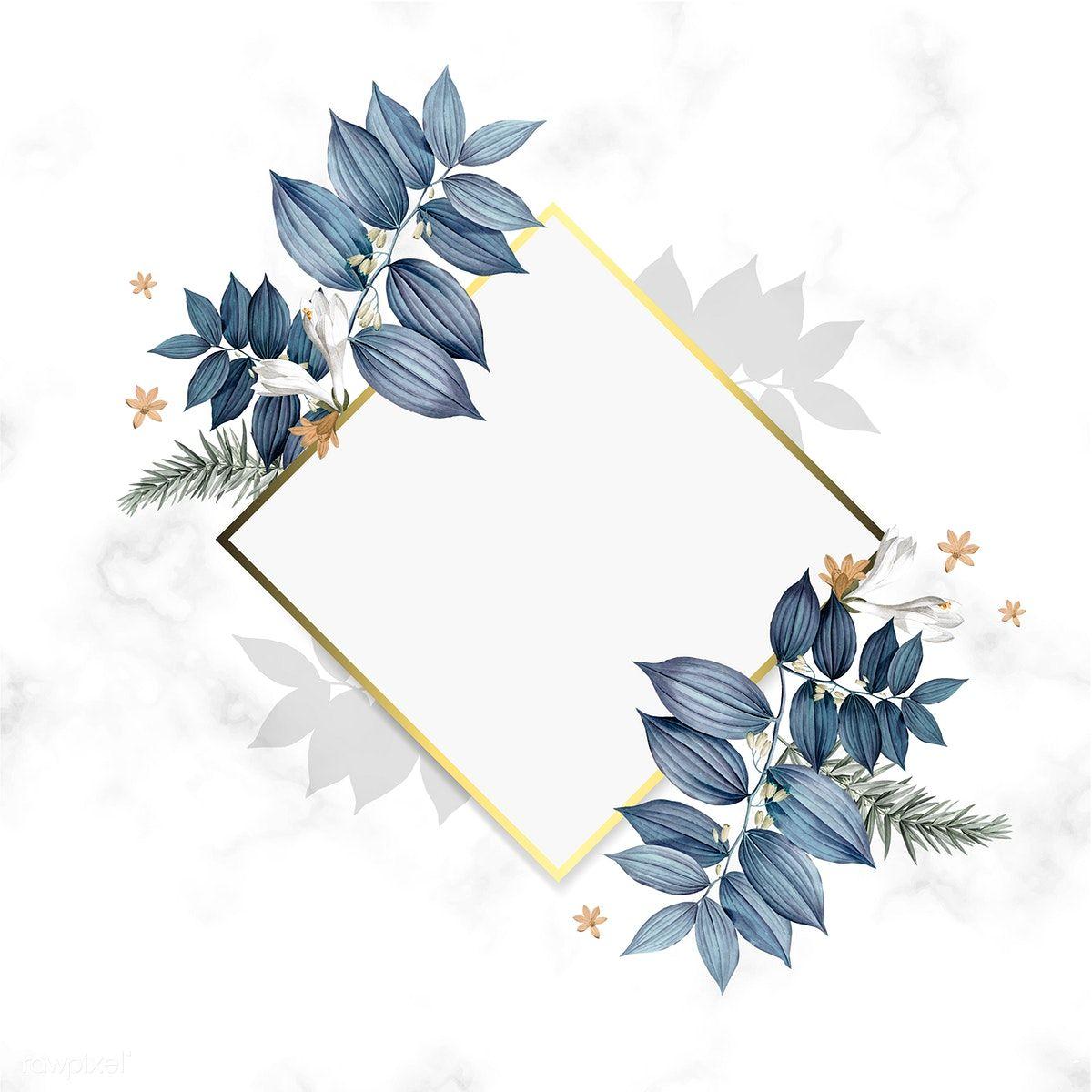 Download Premium Illustration Of Empty Floral Golden Frame Design 520363 Floral Border Design Frame Design Flower Frame