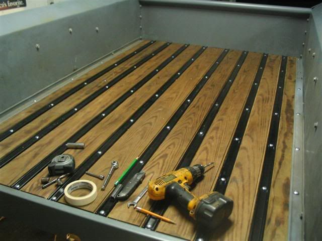 Diy wooden truck bed ranger project pinterest wooden for Wood floor kits for pickups