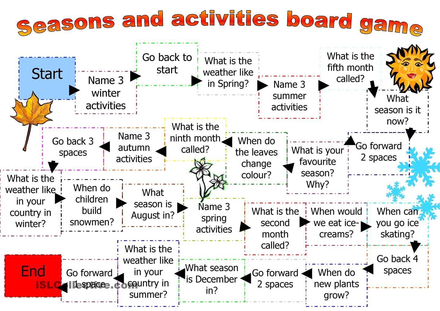 Board Game For Seasons And Activities