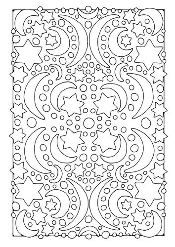 Coloring page night - moon and stars | Ramadan | Pinterest | Colores ...