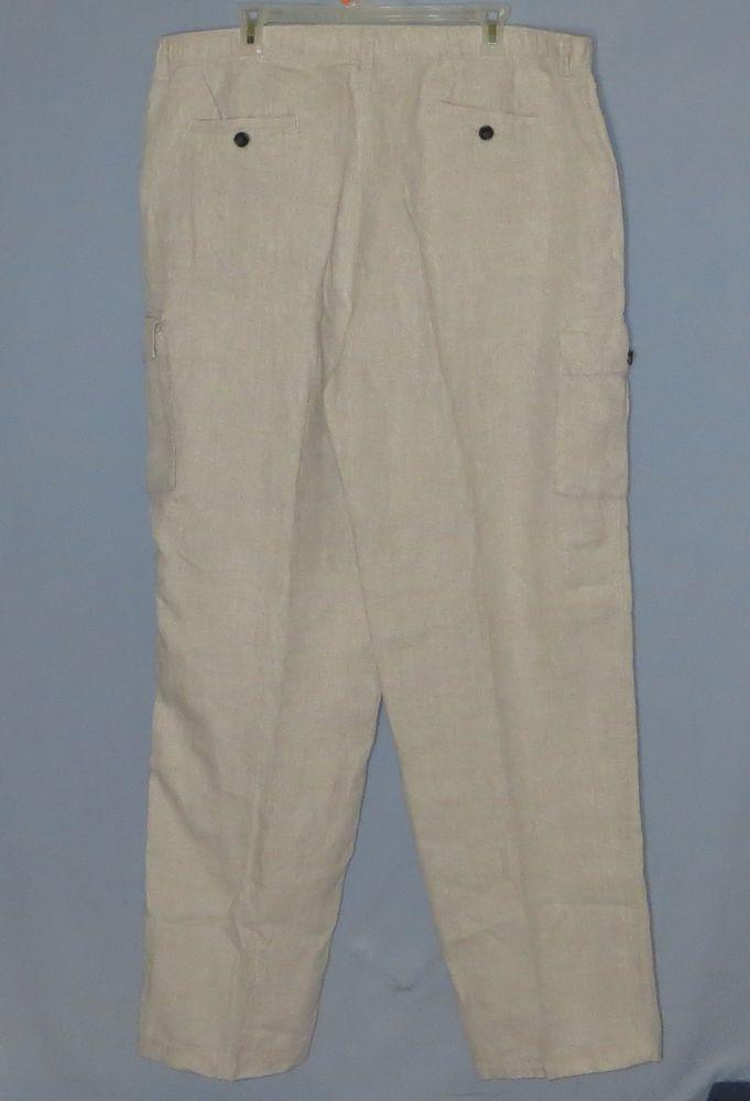 a9249cc0ef Men's Tommy Bahama 100% Linen Cargo Pants Size XL Casual Beige 38 x 34 # TommyBahama #CasualPants