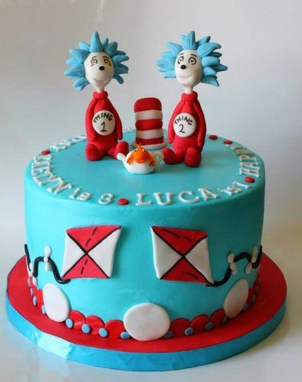 Thing 1 Thing 2 Cake With Images Seuss Cakes Cake Dr Seuss