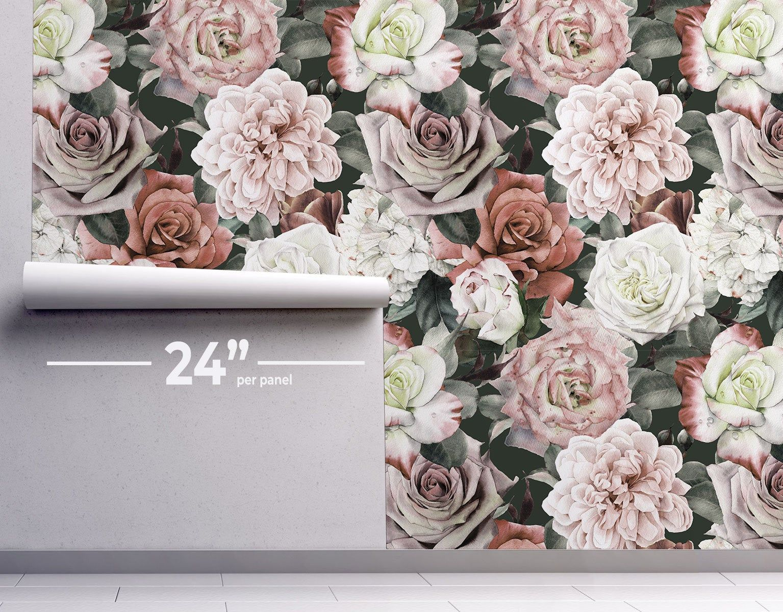 Vintage Floral Removable Wallpaper By Eazywallz Custom Etsy In 2020 Vintage Floral Wallpapers Floral Wallpaper Removable Wallpaper