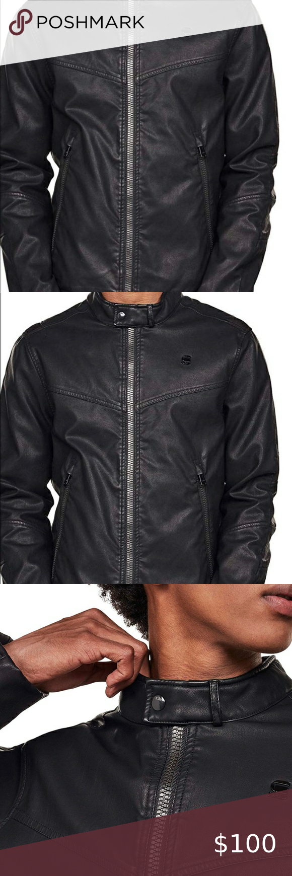 Gstar Moran Dc Biker Leather Jacket Xxl Leather Jacket G Star Jacket Denim Design [ 1740 x 580 Pixel ]