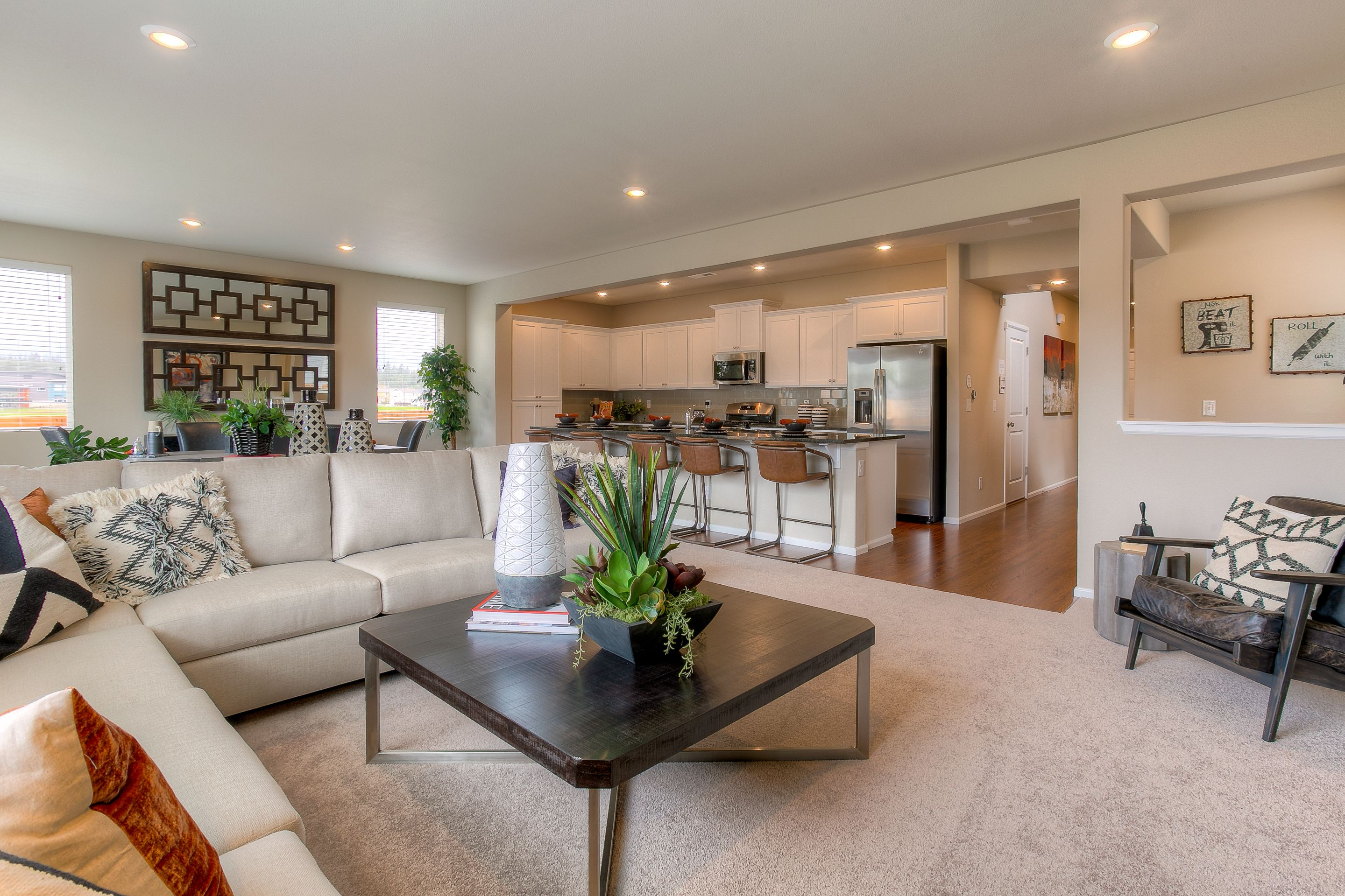 An Open Great Room Means Easy Living Comfort Zones New Homes New Homes For Sale Home