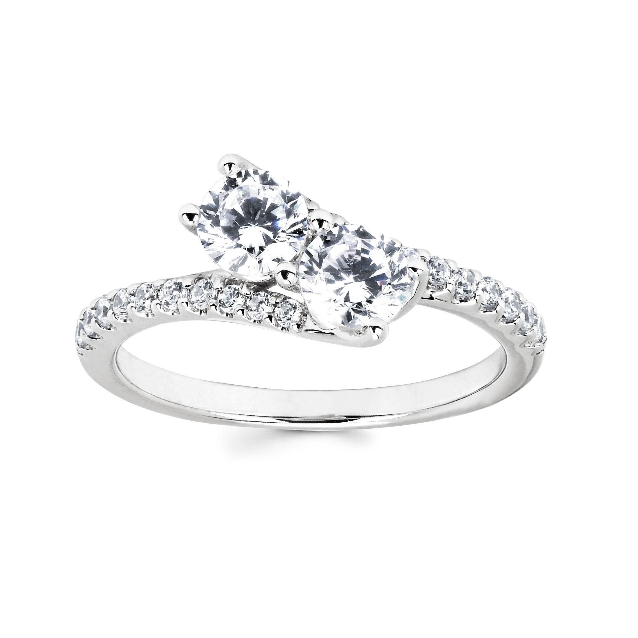 Miadora signature collection 14k white gold 1ct tdw diamond double row - Boston Bay Diamonds 10k White Gold 1ct Tdw Two Stone Diamond Ring H I
