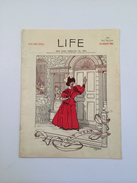 Life magazine, 1896. Item Description: Life Magazine, NY, 1896. Soft Cover. Book Condition: Very Good. B/w (illustrator). 4 Vo; .5 Pounds.