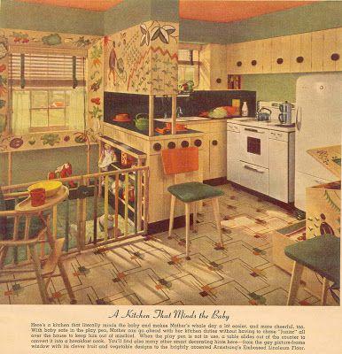 vintage linoleum 1940s |  linoleum patterns and a kitchen