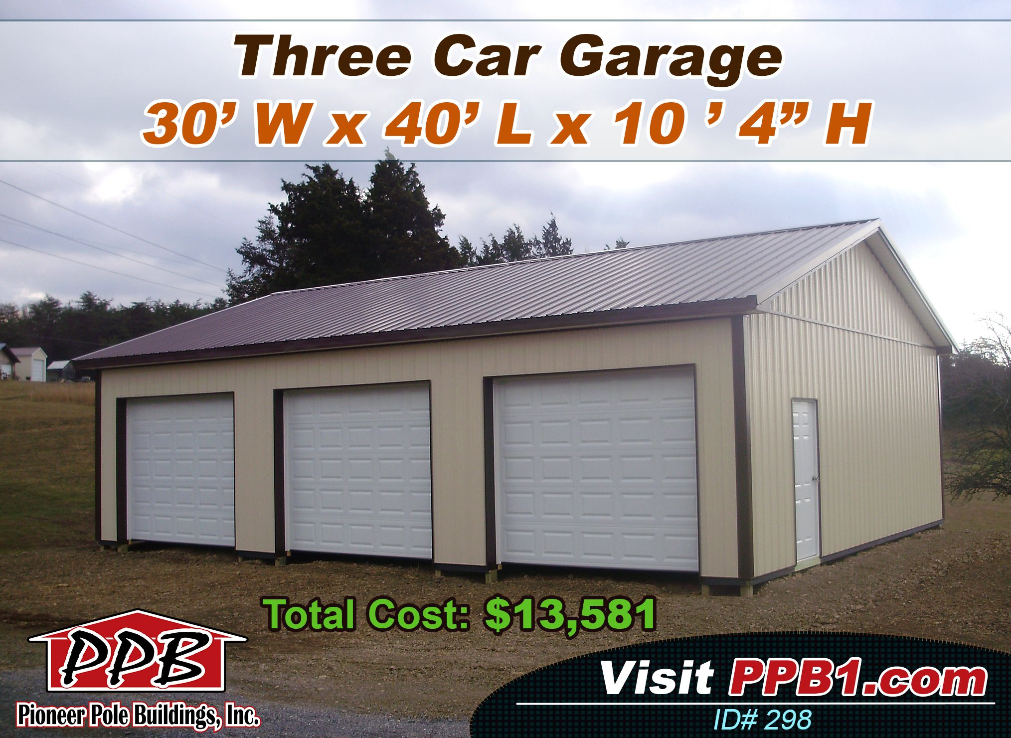 Do you have three cars this garage could be yours 30 for Standard garage roof pitch