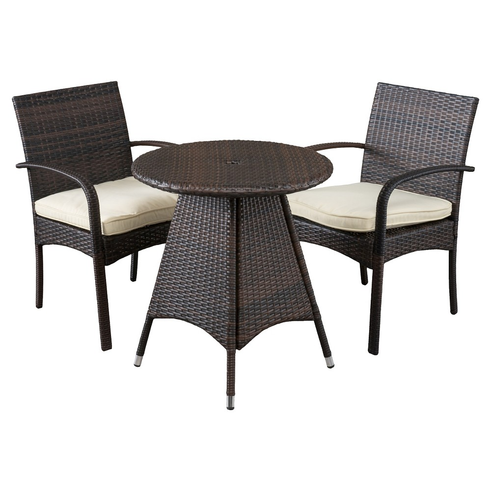 Peterson 3-piece Wicker Patio Bistro Set with Cushions - Brown ...