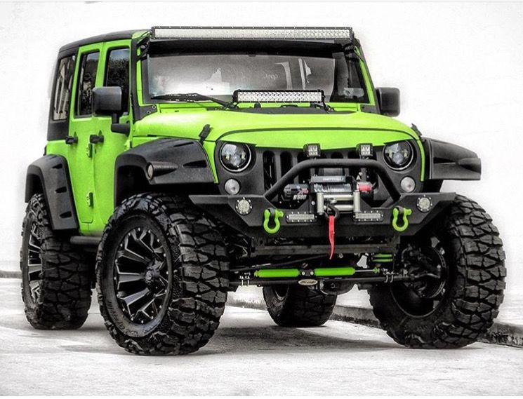 Lime Green Jeep Modified With Many Extras Including My Favorite Tires For Any Jeep Nitto Mud Grappler Tires Jeep Wheels Green Jeep Jeep Wrangler