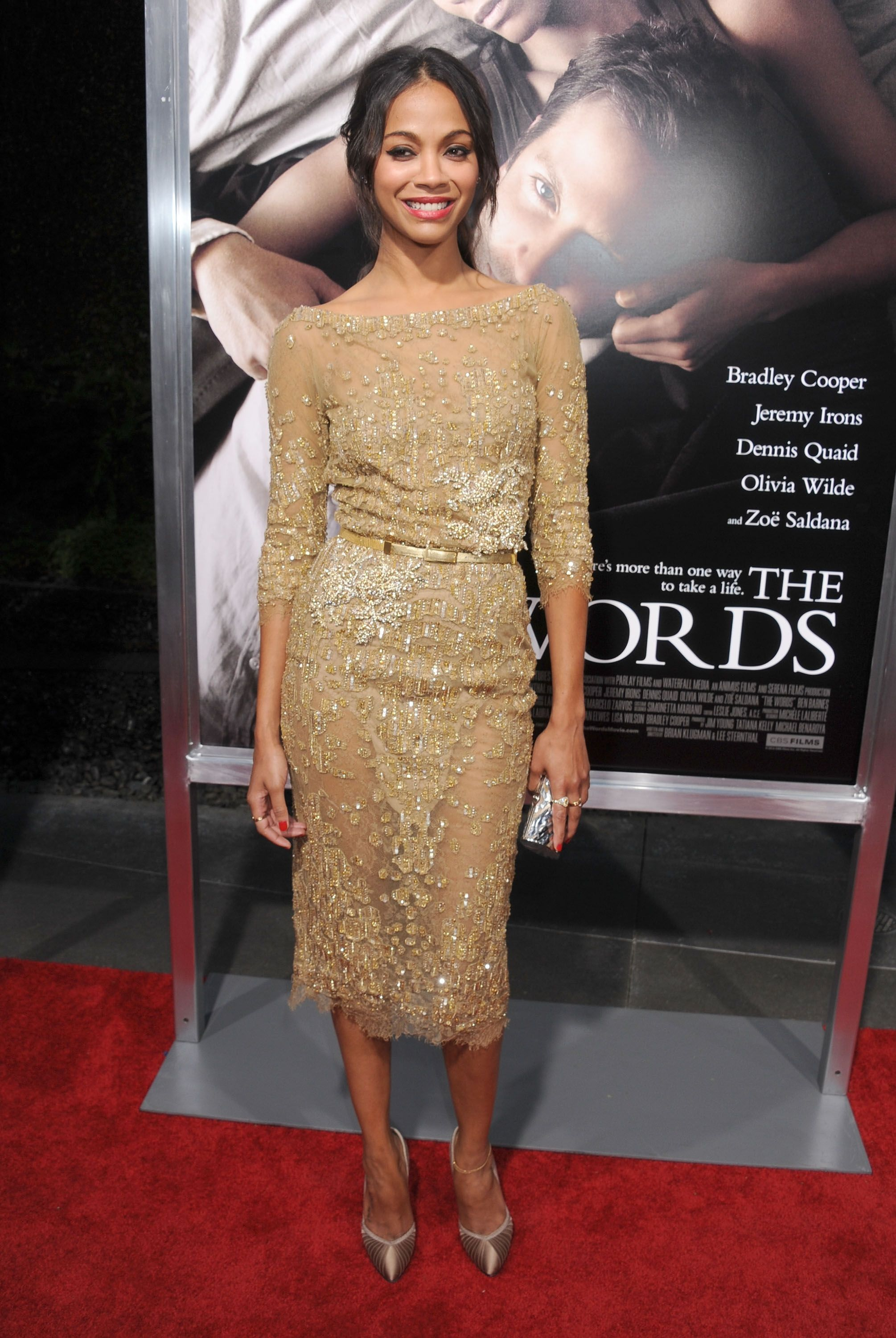 """Zoe Saldana in ELIE SAAB Haute Couture Fall-Winter 2012-13 for """"The Words"""" Premiere in Los Angeles."""