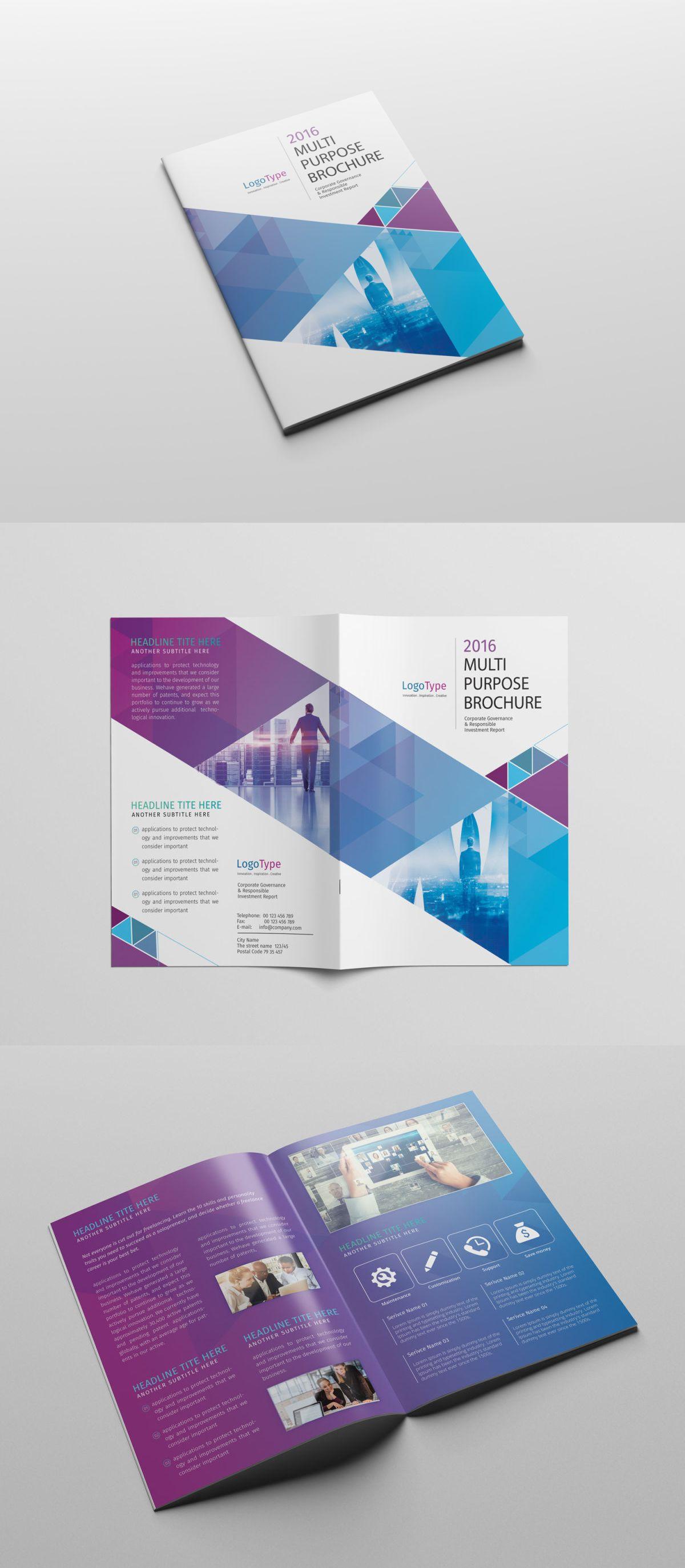 Abstract BiFold Brochure Template PSD Brochure Templates - Bi fold brochure template