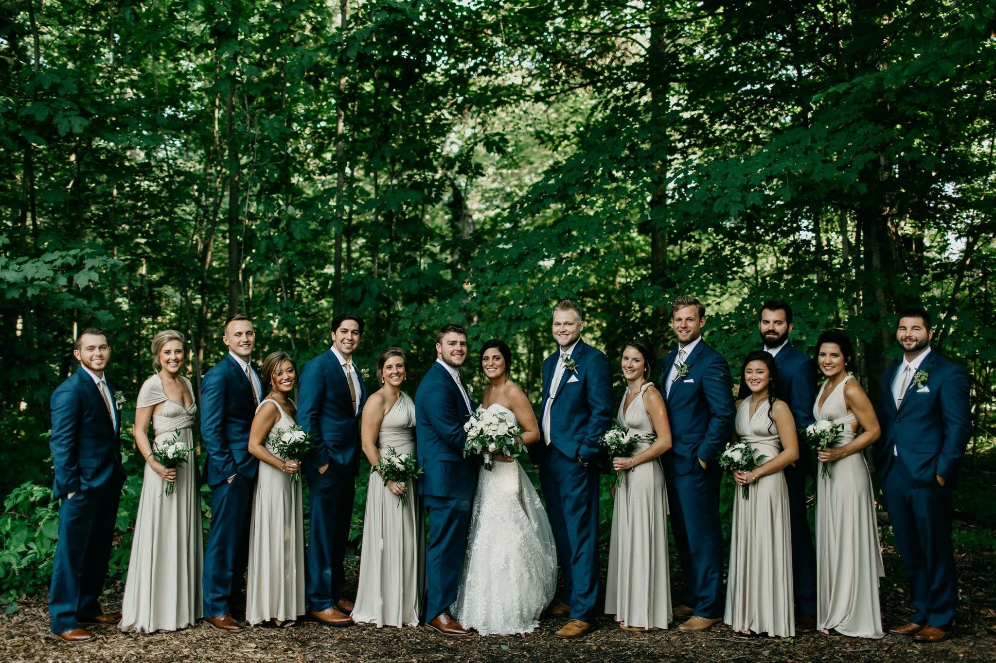 Rustic Outdoor Wedding. Bridal Party. Groomsmen And
