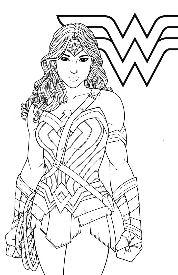 Kleurplaat Printer Wonder Woman By Jamiefayx Coloring 4 Kids Dc Super Hero